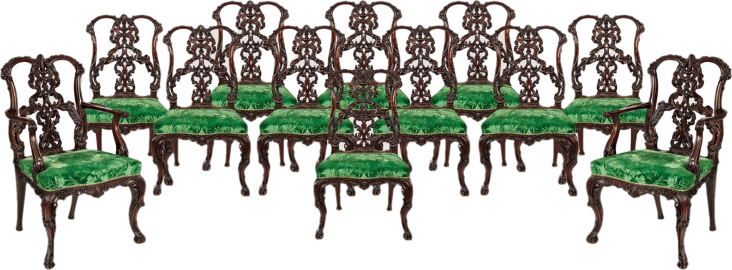 Set of 12 Dining Chairs designed by Thomas Chippendale, Circa 1890