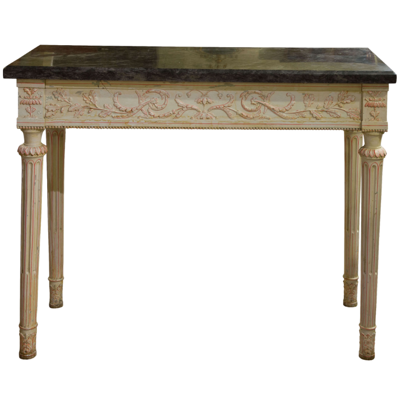 An 18thc continental painted console table with marble top