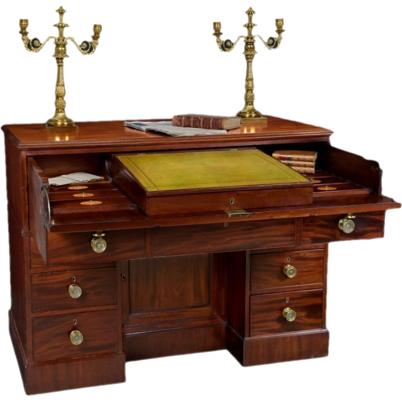 Georgian Mahogany Library Desk Secretaire Cabinet by Gillows of Lancaster