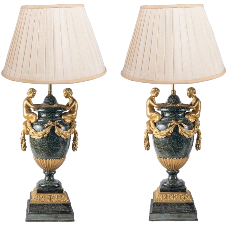 Pair Louis XVI Style Neo-classical Marble Lamps.