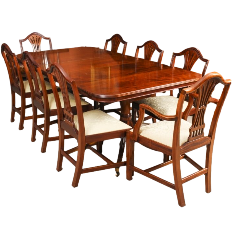 Vintage Regency Revival Dining Table & 8 chairs by William Tillman 20th C