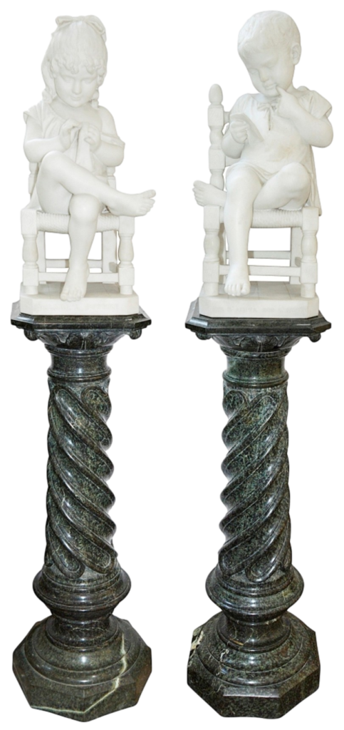 Pair C19th Marble Statues Of Young Children In Chairs, Signed ;Cesare Lapini