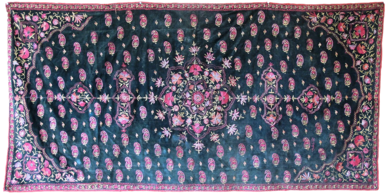 Indian Embroidery on Velvet 2.23m x 1.12m