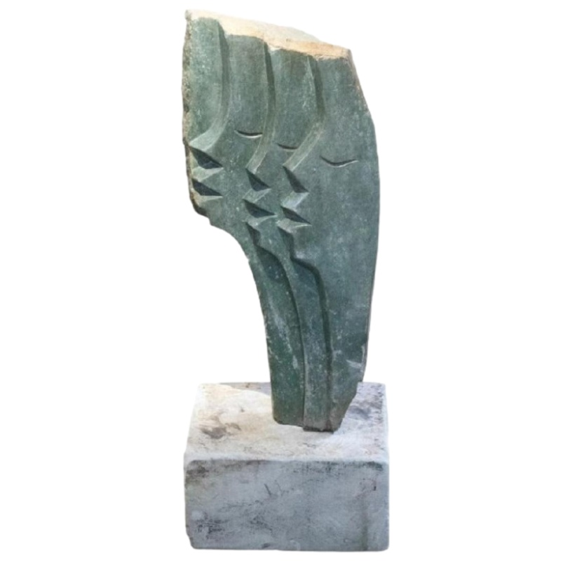 20th Century Abstract Modernist Stone Sculpture Of Three Faces In Profile