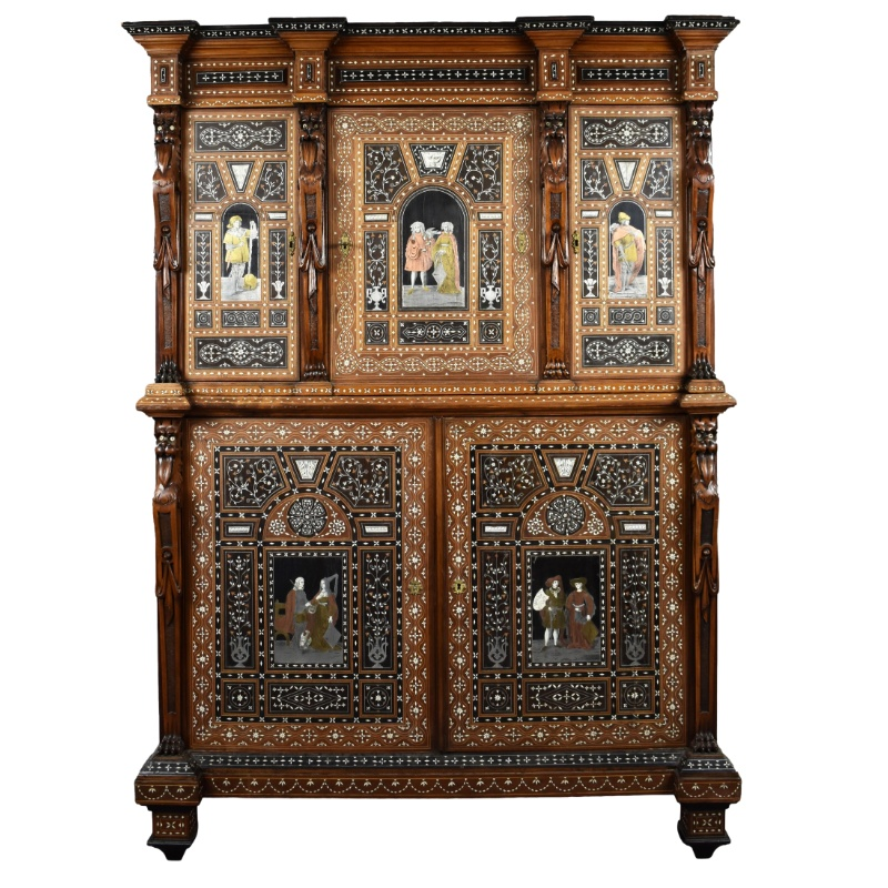 19th Century Profusely Inlaid Cabinet